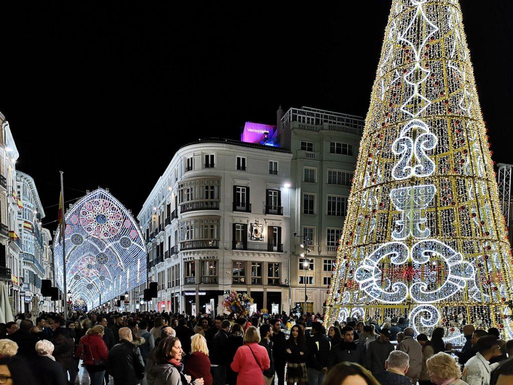 Christmas lights in Plaza de la Constitucion and Calle Larios, Malaga