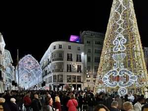 Christmas lights in Plaza de la Constitucion and Calle Larios, Malaga