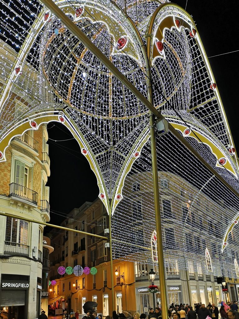Cathedral themed Christmas lights, Calle Larios, Malaga