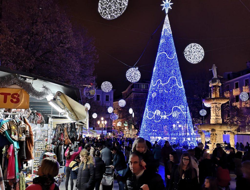 Christmas lights and market stalls in Plaza de Bib-Rambla, Granada