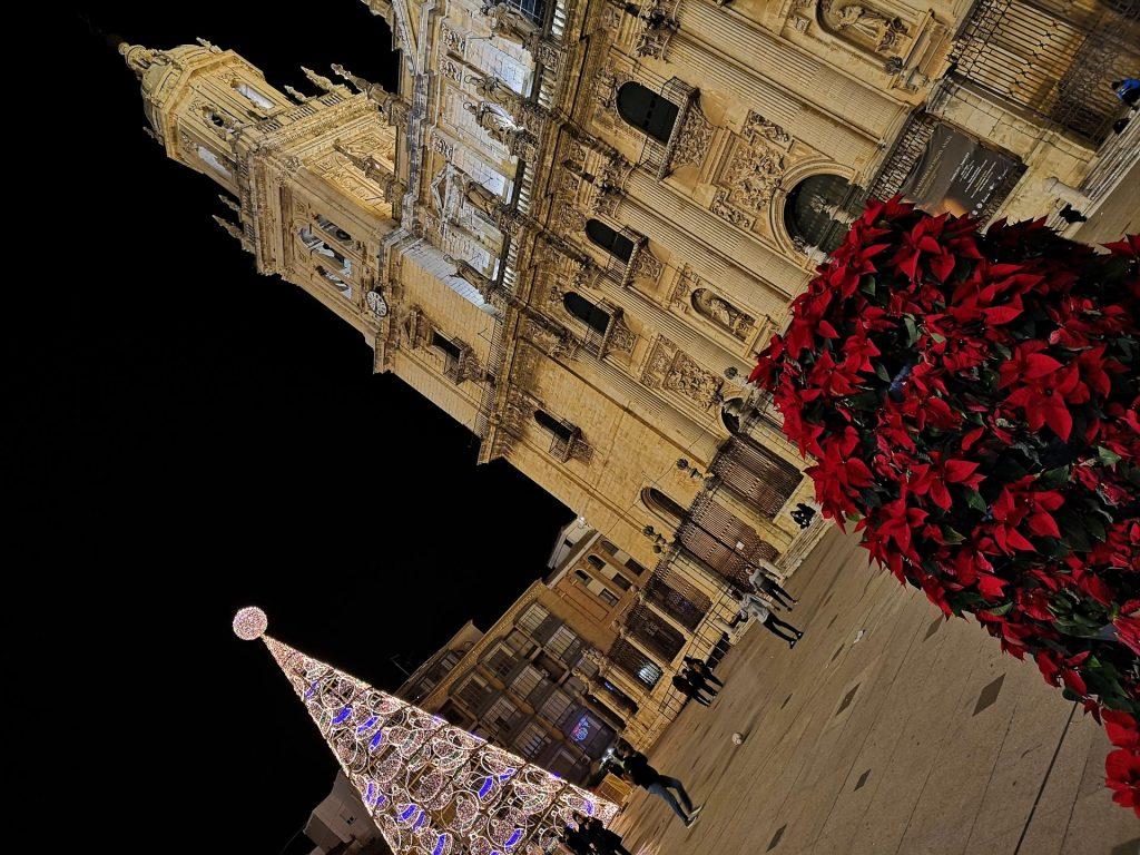 Christmas tree and cathedral in Plaza Santa Maria, Jaen