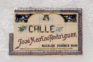 Old style ceramic tile street sign