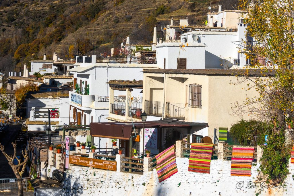 Pampaneira in the Poqueira valley, Spain, is famous for its many craft shops selling ceramics, rugs, leather and clothes