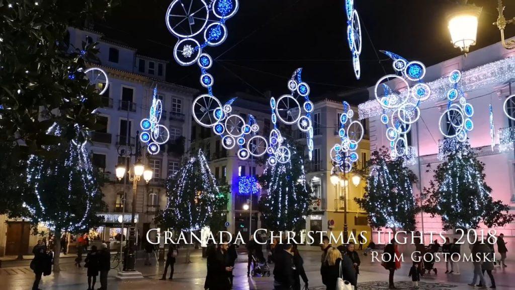 Christmas lights in Plaza del Carmen, Granada