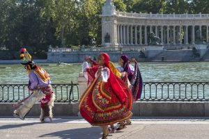 Dance troupe by the lake