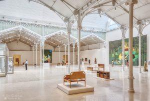 Modern art exhibition inside the Palacio de Velázquez