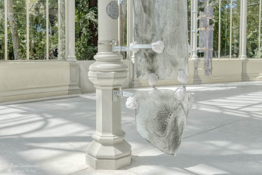 Modern art exhibition inside the Palacio de Cristal