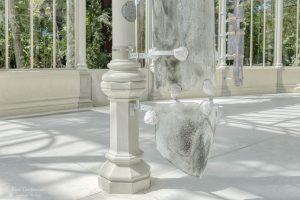 Modern art exhibition inside the Palacio de Cristal