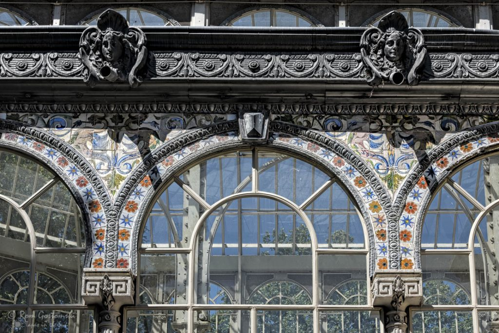 The Palacio de Cristal is mostly glass but does include some ornate tiles and mouldings.