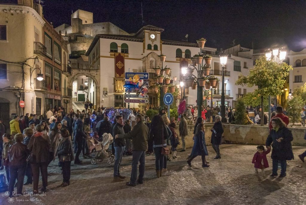 People gathering in Alcaudete town square waiting for the procession.