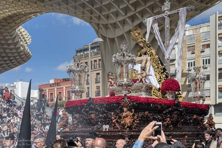 A paso in a Semana Santa procession in Sevilla