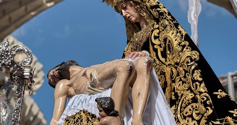 Semana Santa in Sevilla - the Virgin Mary gazes lovingly at a dead Jesus