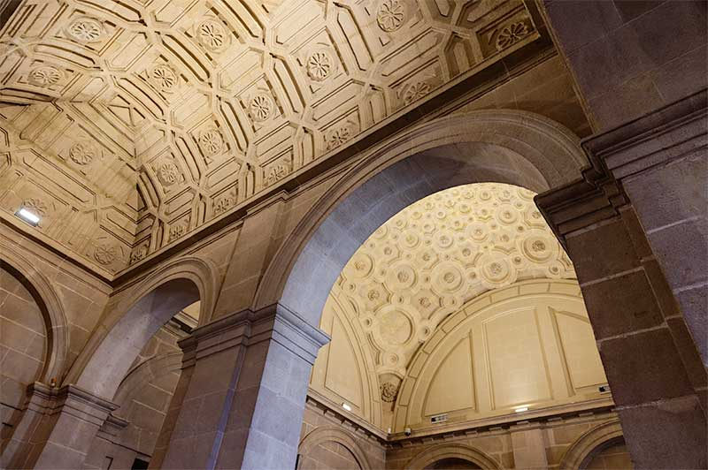 The ornate vaulted ceilings on the first floor
