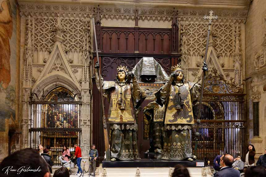 The Tomb of Christopher Columbus carried by the four kings of the four regions of Spain