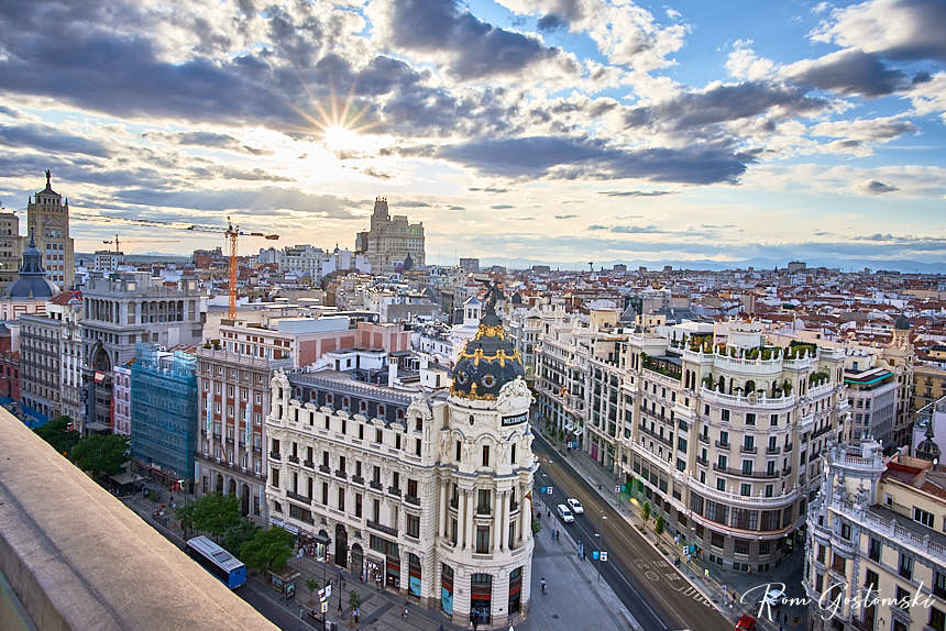 View from the Círculo de Bellas Artes roof terrace in Madrid - Gran Via and the Metropolis building