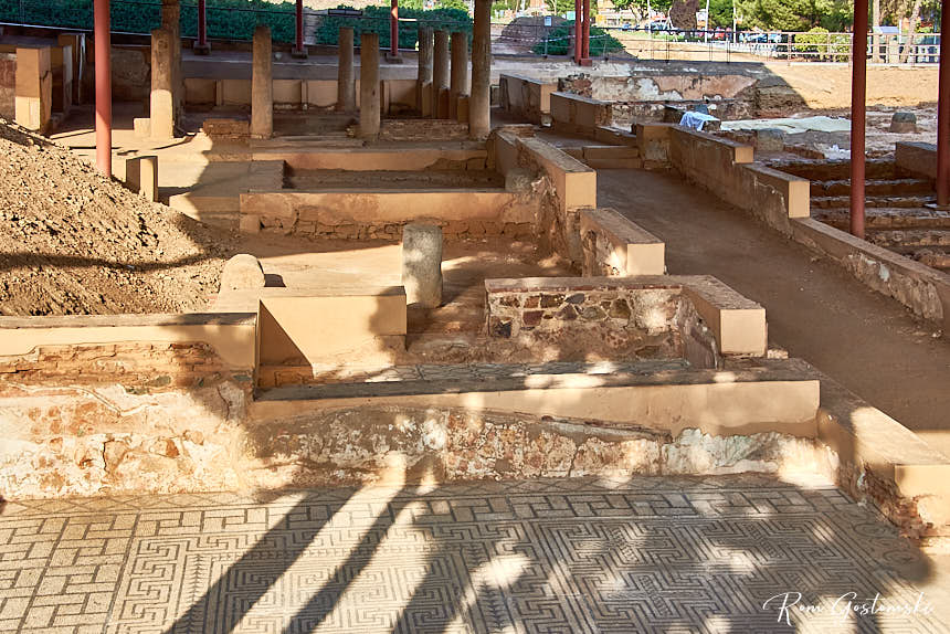 Some of the excavated archaeological remains of Mithraeum House