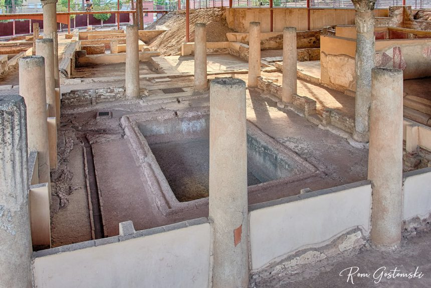 One of the three patios with pool for collecting water