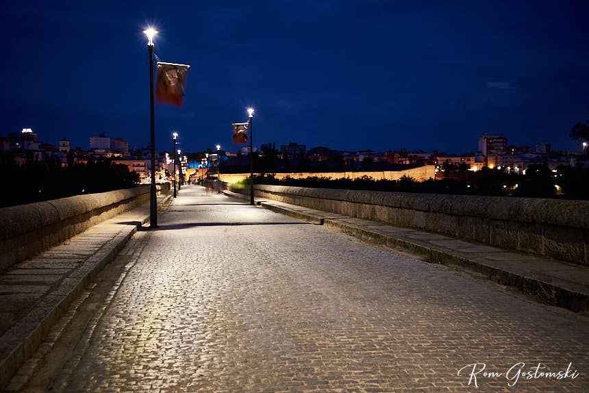 The puente Romano lit by street lights at night, looking towards Mérida
