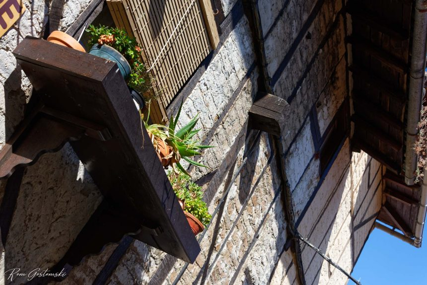 A window box with more pot plants! The house is of the traditional chestnut frame construction used by the Jews