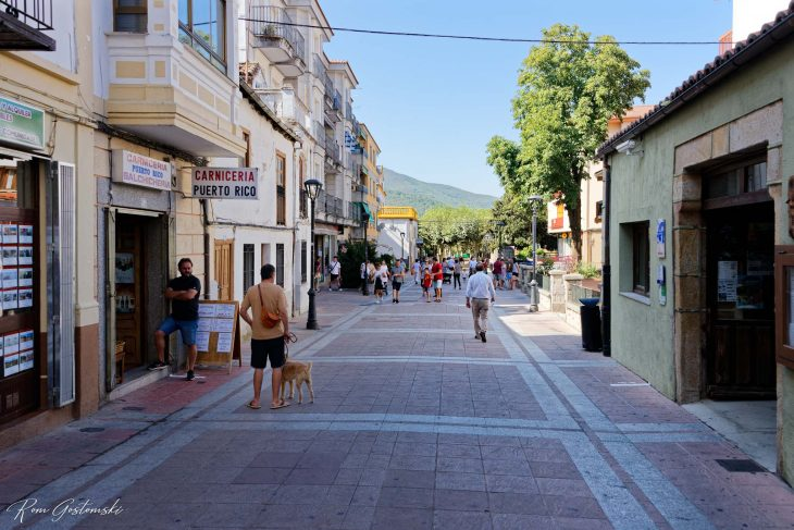 The pedestrianised high street in the new part of the town.