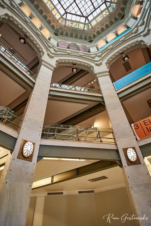 A sense of spaciousness is created by the full height main hall and atriums, all with stained glass domes to let in light.