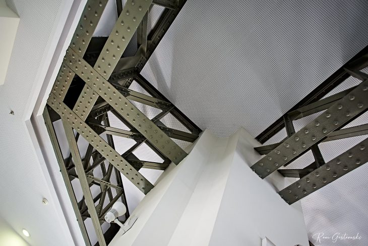 A close up view of the structural steel.