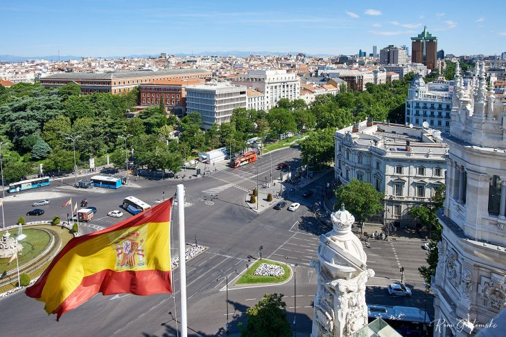 The views from the 8th-floor mirador (viewing terrace) are amazing. This is the Plaza de Cibeles.