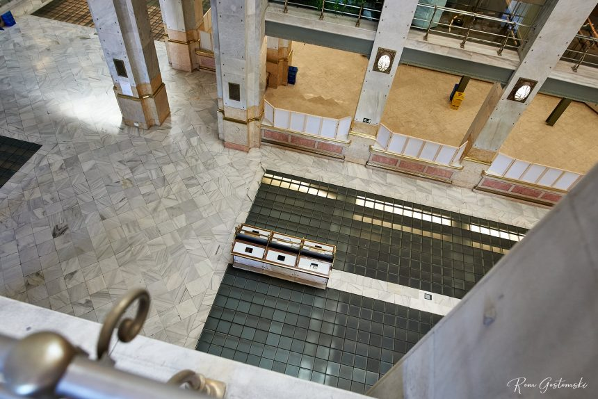 Looking down on the main post office hall gives a sense of the scale. The desks in the centre are dwarfed by the size of the space.